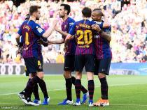 Arturo Vidal of FC Barcelona celebrates his goal with his teammates during the match between FC Barcelona vs Getafe CF of LaLiga, date 20, 2018-2019 season. Camp Nou Stadium. Barcelona, Spain - 12 may 2019