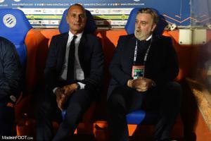 Laurent Nicollin, le président du Montpellier HSC, ici aux côtés de Michel Der Zakarian.