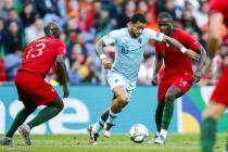 (l-r) Danilo of Portugal, Memphis Depay of Holland, William Carvalho of Portugal during the UEFA Nations League final match between Portugal and The Netherlands and England at Estadio do Dragao on June 09, 2019 in Porto, Portugal .
